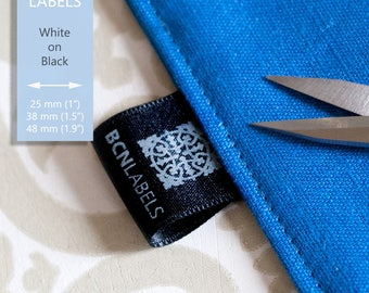 Custom 100 pcs White on Black Soft Satin Labels / Care Labels / Sew in labels