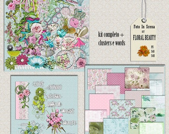 Digital kit FLORAL BEAUTY,  spring, garden, flowers, enchantement
