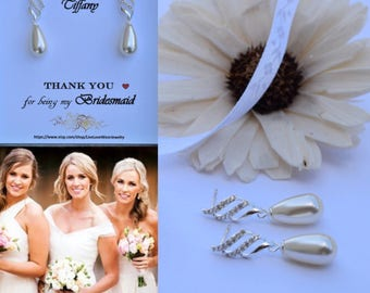Wedding Earrings with Swarovski Crystals- (Bridal/Bridesmaid/Made of Honor/Prom/Special Occasion)