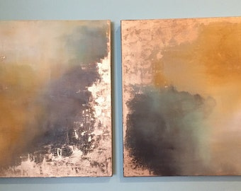 "Series of Gold Leaf Yellow Brown Neutral Abstract Paintings - Aerial Storm Series"" in 24"" x 24"""