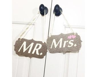 Mr. & Mrs. Wedding chair signs