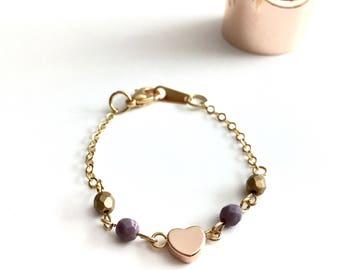 Toddler Bracelet, Rose Gold Heart Bracelet, Baby Jewelry, Baby accessory, Charm Bracelet, Heart Bracelet, Rose Gold Jewelry, infant jewelry