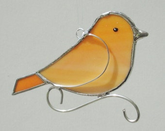 Orange Stained Glass Bird Home Decor Suncatcher or Christmas Holiday Ornament