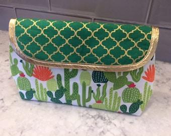 Cactus Makeup Bag with Brush Holder. Makeup Bag. Cosmetic Bag. Makeup Organizer. Travel Bag.