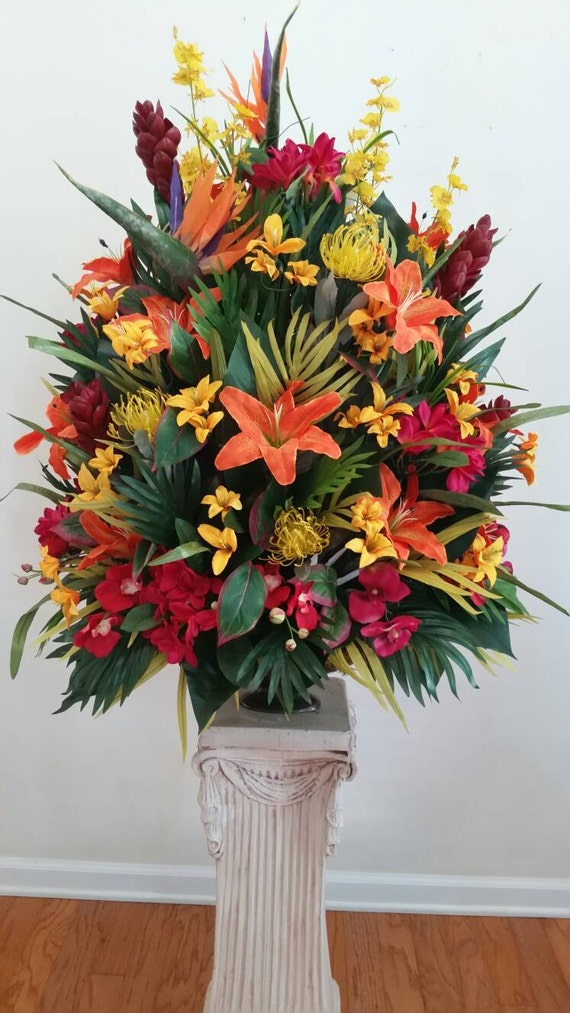 Extra Large Tropical Floral Arrangement Foyer Table Hotel
