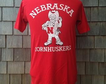 80s vintage Nebraska Cornhuskers Herbie Husker football T Shirt - Medium / Small - University - front/back - Huskers