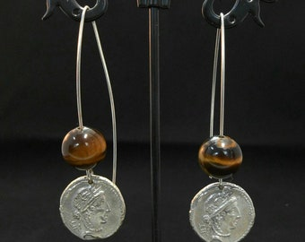 Tiger Eye earrings and silver