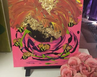 Original Small Acrylic Abstract Bad Art Painting w/ Gold Leaf