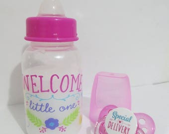 Reborn Doll  Bottle 5oz Fake Milk OOAK -Welcome Little One + Special Delivery Pacifier - Choose Pacifier Adhesive - Ages 8 Yrs +