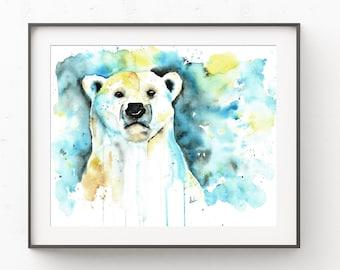 Polar Bear Paintings, Bear Paintings, Watercolour, Polar Bear, Bear Art, Arctic Animals, Polar Bear Print, Art Print, Canadian Animals, Art