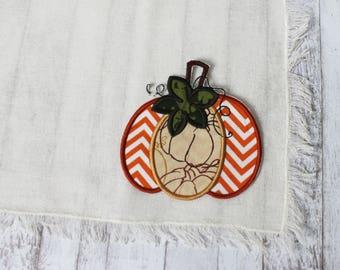 Orange Chevron Pumpkin on Cream Fringe Placemats - Set of 4