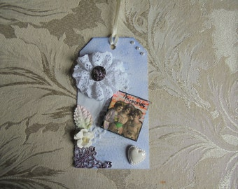 Scrapbook Embellishment for Layouts, Mini Albums, Cards, Altered Art Papercrafts. 3D Embellishment. Tag embellishment. Scrapbook Tag.