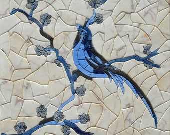 Blue Bird in petal stone mosaic art