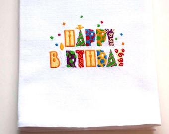 Happy Birthday Tea Towel | Embroidered Kitchen Towel | Personalized Kitchen Towel | Embroidered Towel | Dish Towel | Flour Sack Towel