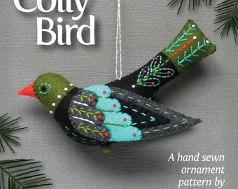 Colly Bird PDF pattern for a hand sewn wool felt ornament