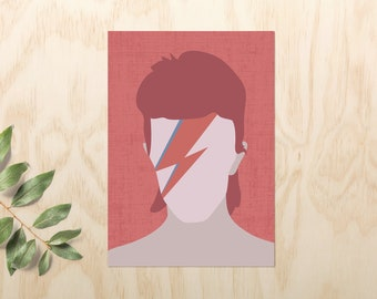 David Bowie Poster // Bowie Poster // Music Wall Art Gift and Print // Minimalist Bowie Illustration // Music Poster Ziggy Stardust