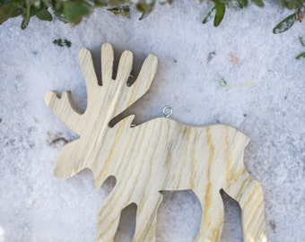 Wooden Moose Christmas Ornament