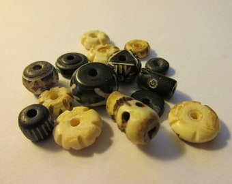 Carved Assorted Bone Bead Mix, 5mm-25mm, Set of 15