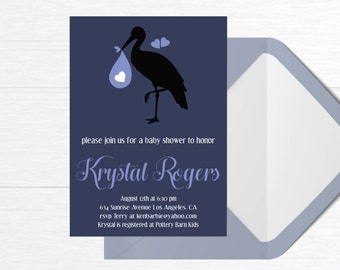 Baby Shower Invitation Stork Baby Hearts Blue Digital Download Printable Custom Baby Girl Baby Boy 5x7