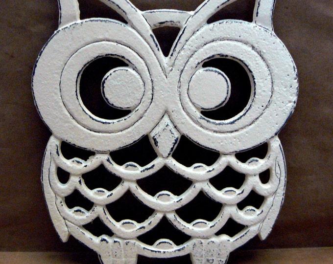 Cast Iron Owl Trivet Off White Shabby Chic Woodland Kitchen Hot Plate Home Decor