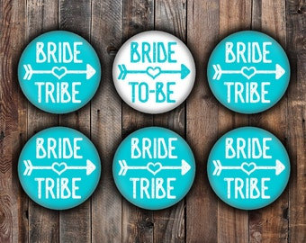 Blue Bride and Bride Tribe pins, 2.25 inch, for bachelorette, shower, wedding