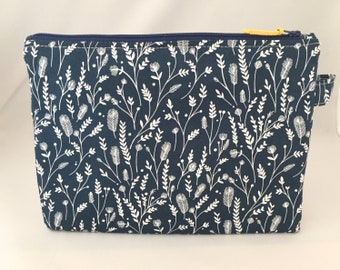 Mini nappy clutch/pouch made in Dashwood Cuckoos Calling Prairie Navy cotton design travel bag, zippered bag, nappy bag