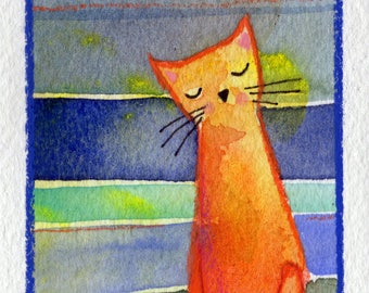 Your Cat ACEO original painting small art watercolor orange cat