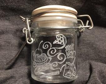 Munchies Jar hand engraved