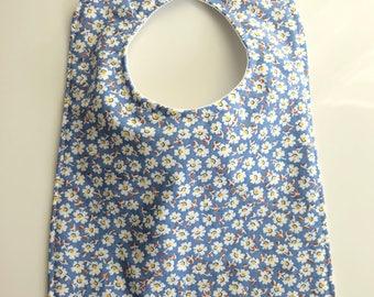 Waterproof Bib - blue daisy, girls floral bib