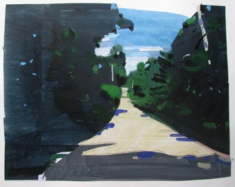 Heat of Day, Original Summer Landscape Collage Painting on Paper, Stooshinoff