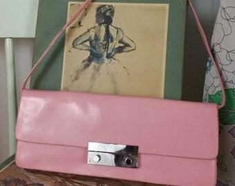 Vintage Pink Faux Patent Leather Handbag