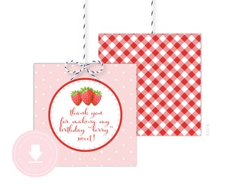 INSTANT DOWNLOAD Strawberry Favor Tag (Strawberry Birthday, Strawberry Baby Shower, Printable Berry Patch Favor Tag, Strawberry Party)