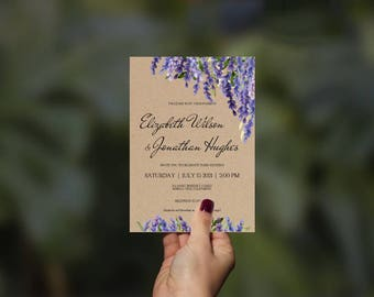 Lavender Wedding Invitation Template Suite-Purple Floral Watercolor Kraft Invite-DIY Printable Invitations-PDF-Download Instantly | VRD138HL