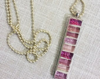 Silver rectangular pendant necklace in pink mosaic