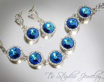 Crystal Capri Blue Rivoli Bracelet - Perfect Bridesmaid Gift - available in other colors