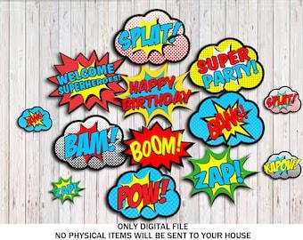 Superhero Centerpieces, Superhero Word bubbles Party Decorations, Superhero Centerpieces Birthday Party Printable, Digital INSTANT DOWNLOAD
