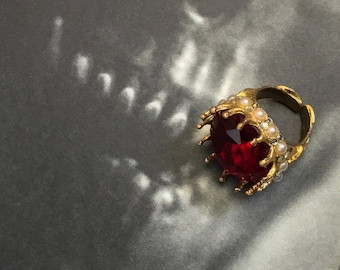 Regal 22K Gold Plated Blood Red Vintage Czech Stone Jewel Crown Ring with Pearls and Crystals Adjustable