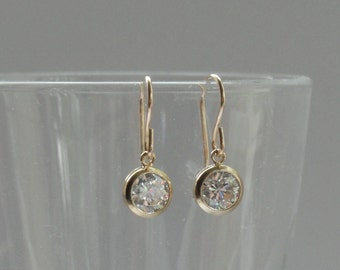 Gold cz earrings, Cubic zirconia earrings, Gold earrings, Gold fill crystal earrings, Bridal earrings, Bridesmaid gifts