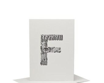 F for Flamingo - Letterpress Print