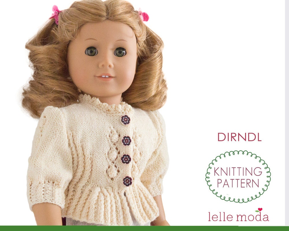 Dirndl Cardigan Knitting Pattern for 18 inch doll fits