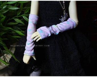 ABJD MNF and UNOA Pastel Fairy Kei Hearts Armwarmers