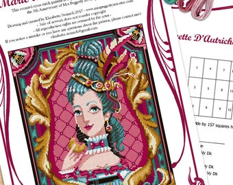 SPECIAL EDITION - Cross stitch and needlepoint pattern - Marie Antoinette portrait -PDF Instant download