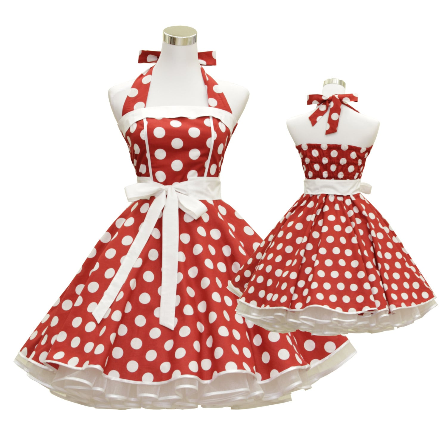 50\'s vintage dress full skirt red white polka dots classic