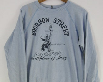 Vintage 80s New Orleans Bourbon Street French Quarter Birth Place of Jazz Crew Neck Baby Blue