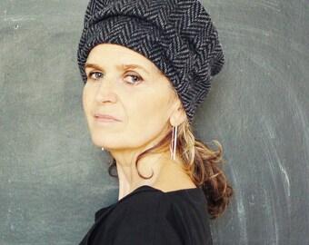 Navy Grey Herringbone Tweed Wool Hat