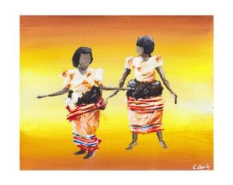 African Dancers, Giclee Art Print, African Print, African Painting, Fine Art Print, Art and Collectibles, UNFRAMED