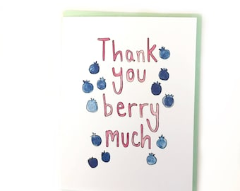 thank you card, watercolor notecard, blueberry note, fruit paper goods, colorful stationery, food pun thank you, funny thanks card