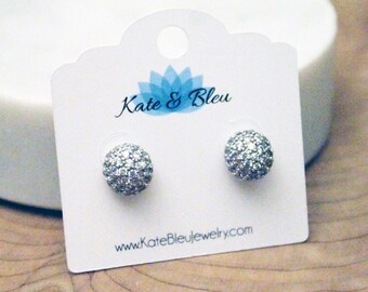 Disco Ball Silver Cubic Zirconia Pavé Stud Earrings