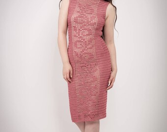 Crochet Dress / Pink Handmade  Dress / Pink Romantic Dress / Boho Dress/ Luxury Dress / Valentine Dress / Lovely Dress