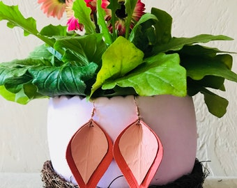 Coral & Pink Layered Leather Earrings